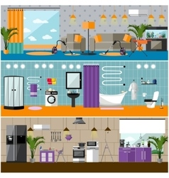 Set of house interior banners apartment vector