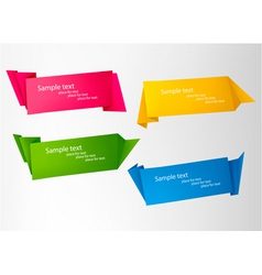 set with origami banners vector image vector image