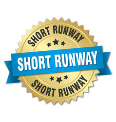 Short runway round isolated gold badge vector