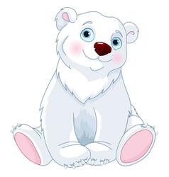 sitting polar bear vector image vector image