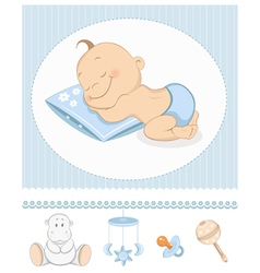Sleeping boy arrival vector image