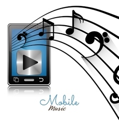 Smartphone player mobile note music vector