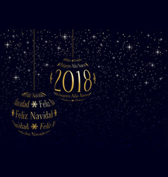spanish christmas and new year 2018 greeting card vector image vector image