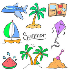 Summer element holiday doodle style vector