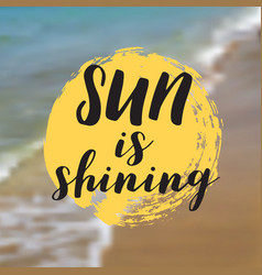 Sun is shining beautiful seaside view poster vector