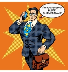 Super businessman answering phone call vector