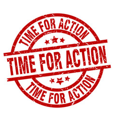 Time for action round red grunge stamp vector