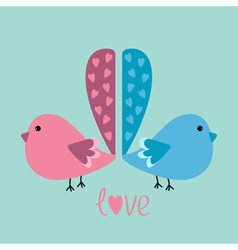 Two birds with heart tails love card vector image vector image