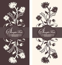 Two floral invitation card vector