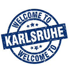 Welcome to karlsruhe blue stamp vector