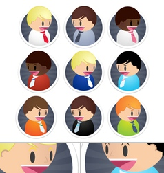 Little business men icons set vector