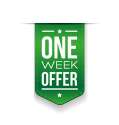One week offer green ribbon vector