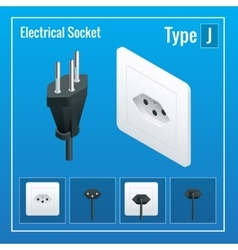 Isometric switches and sockets set type j ac vector
