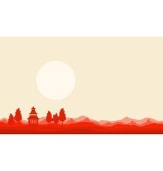 On desert pavilion of silhouette scenery vector