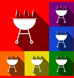 Barbecue simple sign  set of icons with vector