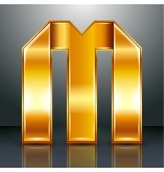 Letter metal gold ribbon - m vector