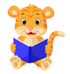 tiger reading book vector image