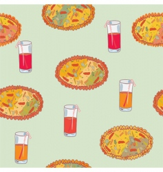 pizza seamless background vector image