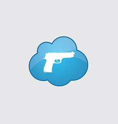 Blue cloud gun icon vector