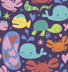 Seamless pattern with sea characters vector