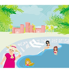 Vacation in a tropical resort vector