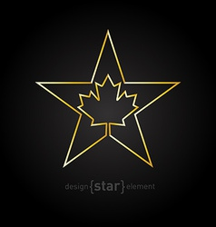 Golden star with canadian maple leaf on black vector