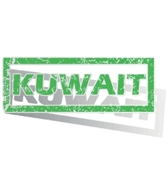 Green outlined kuwait stamp vector