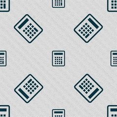 Calculator icon sign seamless pattern with vector