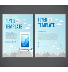 Flyer template with white smartphone vector