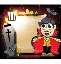 Halloween vampire with coffin and bats vector