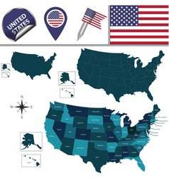 United states map with named divisions vector