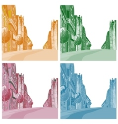 Background the city of different colors vector