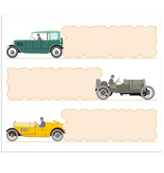 Set of vintage cars and frame in the form o vector