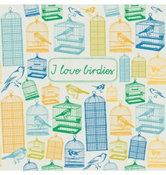 Bird Cages Background Pattern vector image