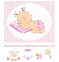 Sleeping sweet girl arrival vector