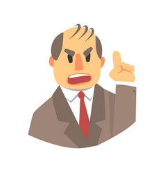 Angry man pointing up colorful cartoon character vector