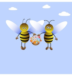 Bee-boy and bee-girl vector