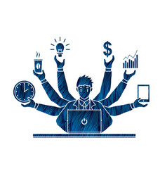 busy businessman with many hands holding many item vector image vector image