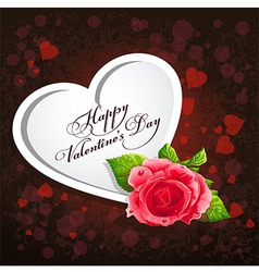 Card for Valentines Day with a red rose vector image vector image
