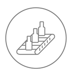 Conveyor belt system line icon vector