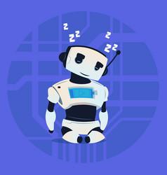 Cute robot sleepng modern artificial intelligence vector