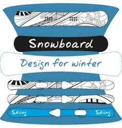 Design of winter sports equipment - ski and vector image