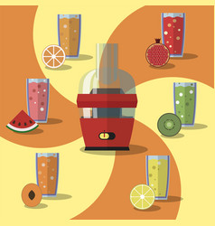 electric juicer juices and vector image