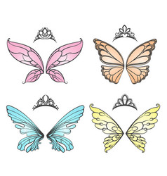 Fairy wings with princess tiara vector