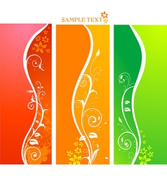 Floral background banner set vector
