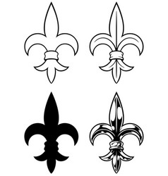 graphic detailed black and white royal lily set vector image vector image