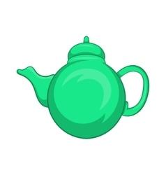 Grean teapot icon cartoon style vector