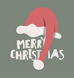 Greeting postcard with santas hat merry christmas vector