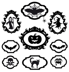 halloween icons in frames set vector image vector image