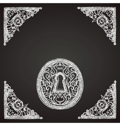 hand drawn keyhole on chalkboard vector image vector image